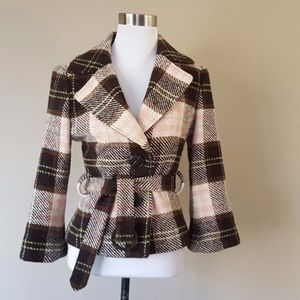 CAbi Coat Size 6 Italian Cloth Brown Pink Plaid